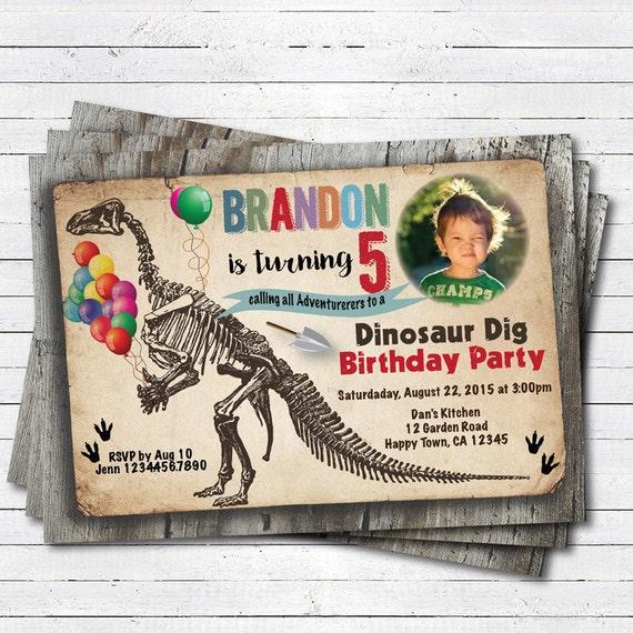 Items Similar To Dinosaur Invitation. Boy Kids Dinosaur