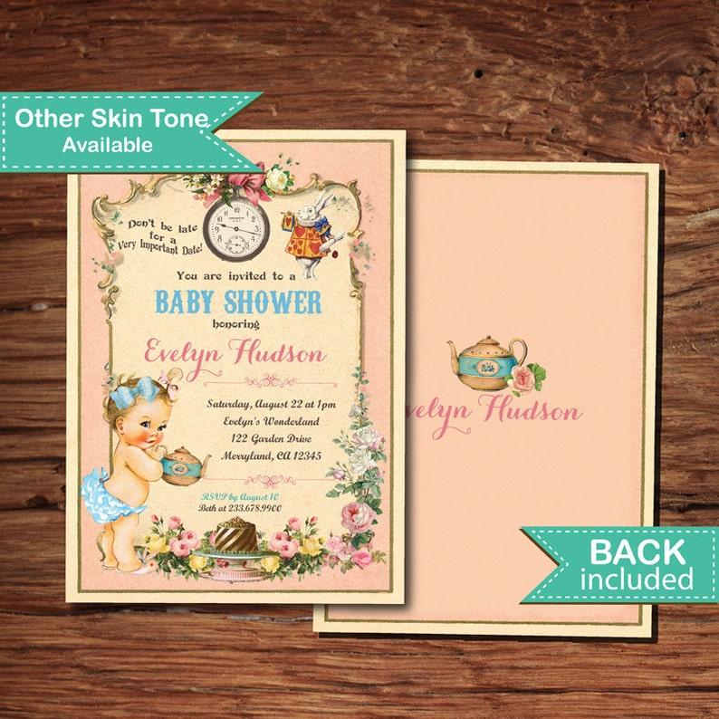 Alice In Wonderland Baby Shower Invitation Vintage Mad Hatter Etsy