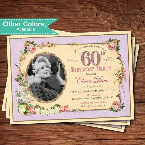 Elegant 60th Birthday Invitation Woman Lady Shabby Vintage
