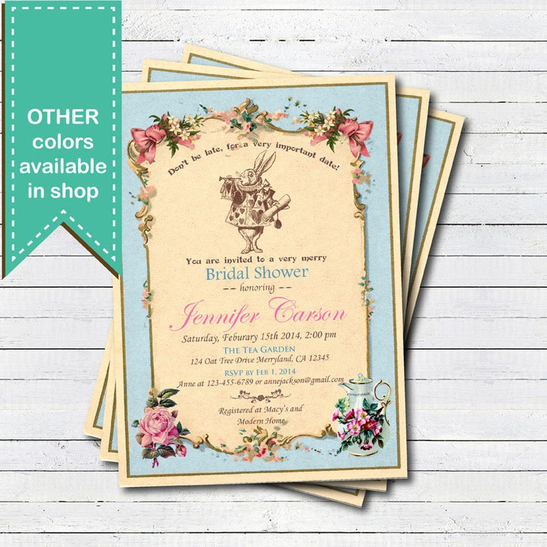Bridal Shower Invitation Mad Hatter Tea Party Invitation Blue Alice In Wonderland Tea Party Vintage Afternoon Tea Garden Party Bs007
