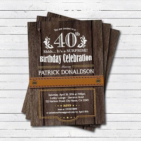 überraschen Sie 40. Geburtstag Einladung. Mann Männer.