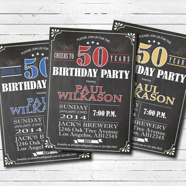 50th Birthday Invitation Surprise Invite Man