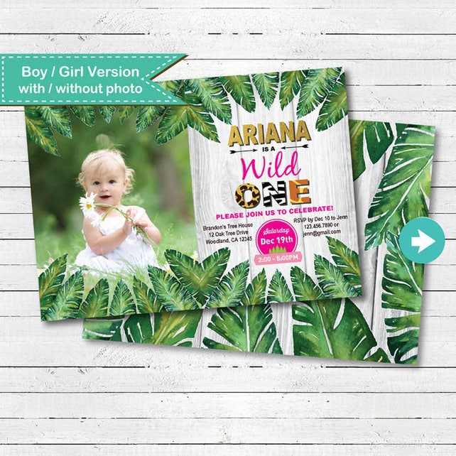 Wild One Birthday Invitation Baby Girl Jungle Theme 1st First Party