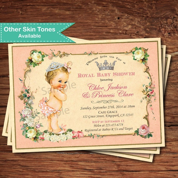 Kleine Prinzessin Mädchen Einladung zur Babyparty. Jahrgang