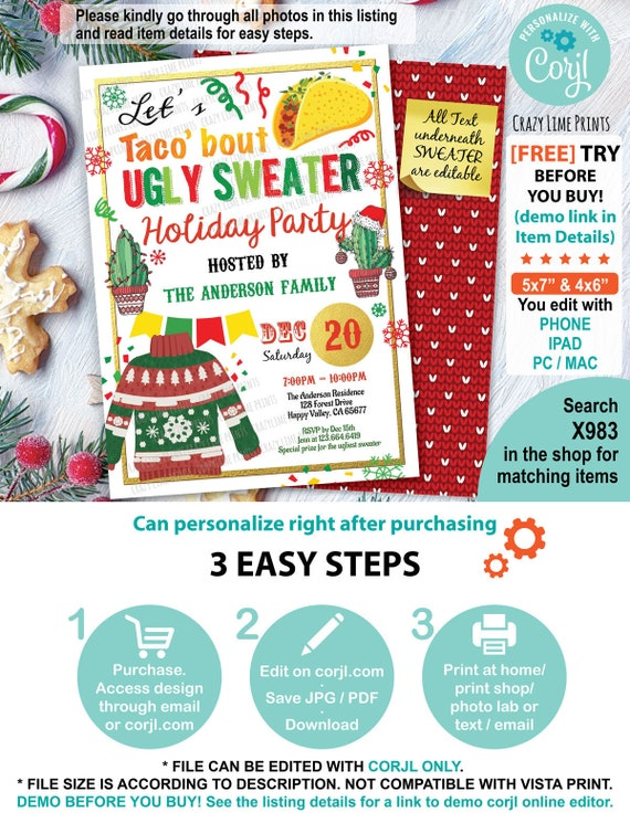 Ugly Sweater Fiesta Invitation Taco About Ugly Christmas Sweater Editable Invite Template Taco Bout Mexican Theme Holiday Party Flyer X983