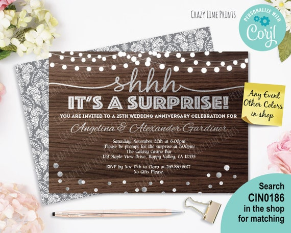 Surprise 25th Anniversary Invitation Rustic Wood Silver Etsy