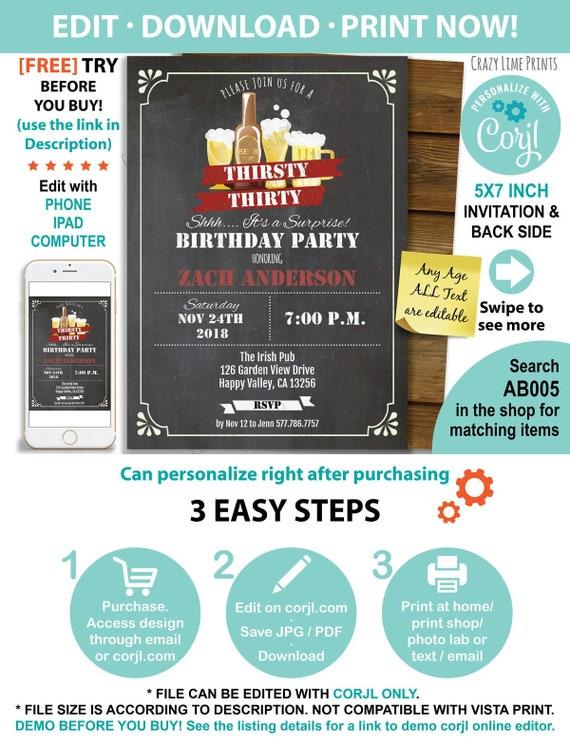 Surprise 30th Birthday Invitation Retro Beer Chalkboard Thirsty 30 Birthday Drinks Invite Editable With Corjl Online Diy Pdf Ab005