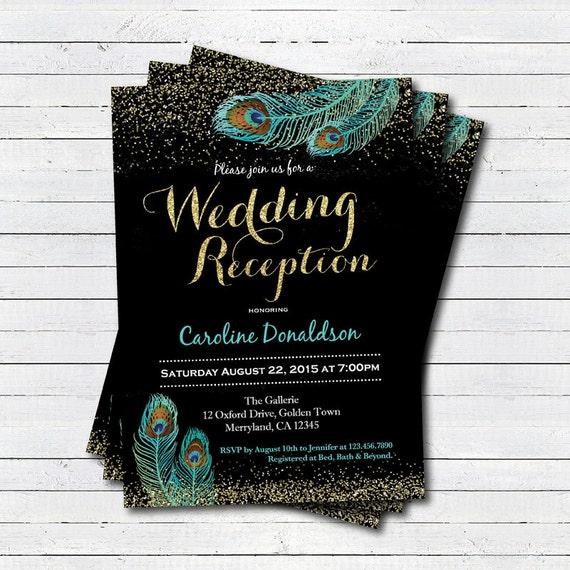 Wedding Reception Invitation Black And Gold Glitter Teal Etsy