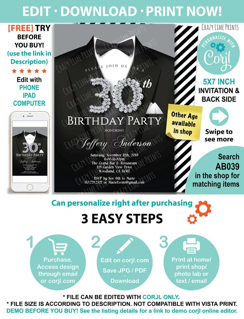 Man 30th Birthday Invitation Classic Black Tie And Suit INSTANT DOWNLOAD Gala Dinner Party Editable Digital Invite AB039