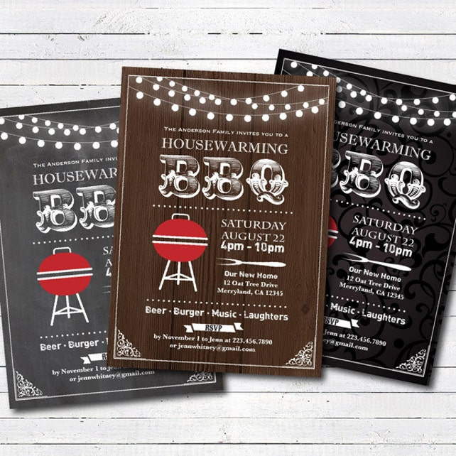 Housewarming BBQ Invitation Rustic Wood Or Chalkboard House Warming Party Printable Digital Invite H001