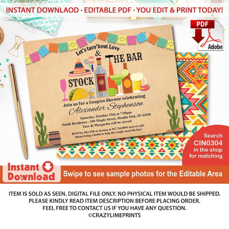 bf844b5f7b Stock the bar invitation Fiesta couples shower engagement | Etsy