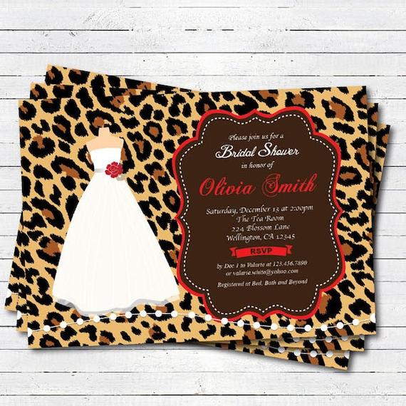 Leopard bridal shower invitation red wedding gown dress filmwisefo