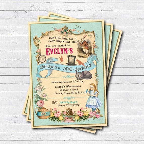 Alice In Wonderland Birthday Invitation Alice In Onederland Etsy