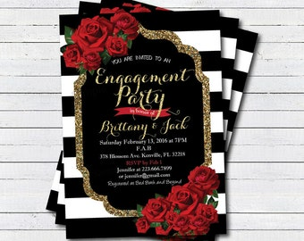 Engagement party invitation. Valentine's day engagement party invitation. Red rose gold glitter black. Couple shower digital printable BS120
