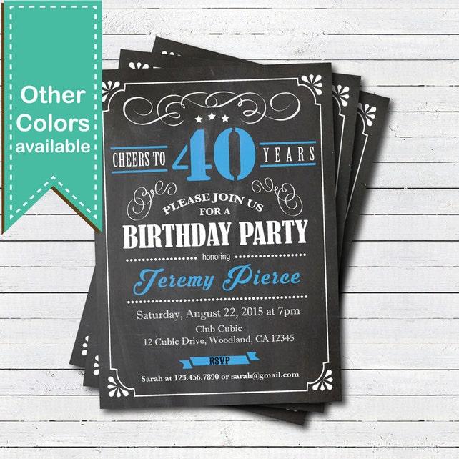 Blue 40th Birthday Chalkboard Invitation Man Cheers To 40 Year Retro Black White Any Age