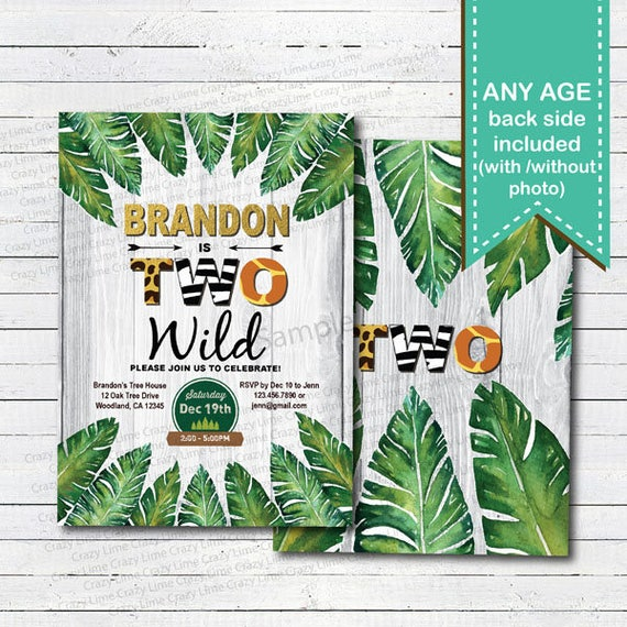 Jungle 2nd Birthday Invitation Kid Boy Safari Wild Theme