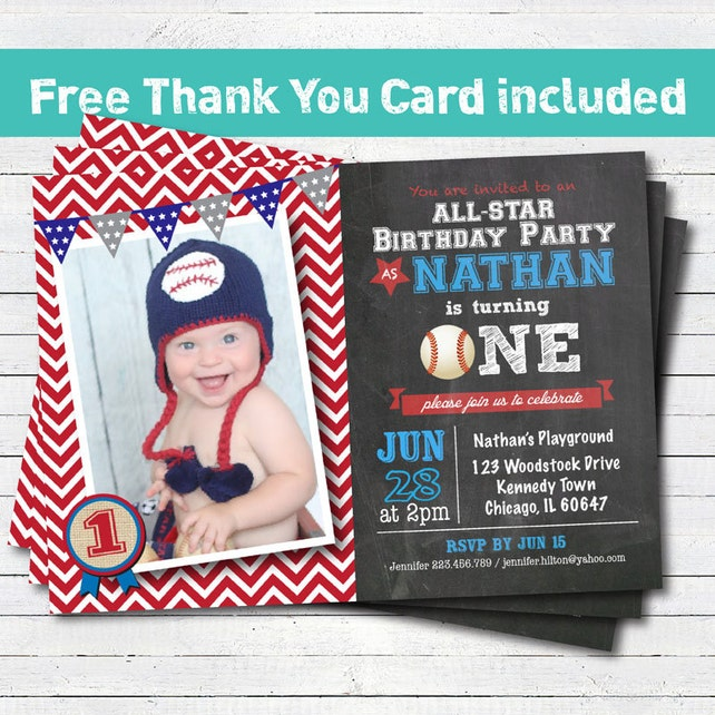 Baseball birthday invitation baby boy first 1st birthday etsy image 0 filmwisefo
