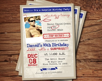 Surprise 50th birthday invitation man guys top secret surprise 30th birthday invitation man guys top secret birthday party vintage retro 30th 40th 50th printable digital photo invite ab112 filmwisefo
