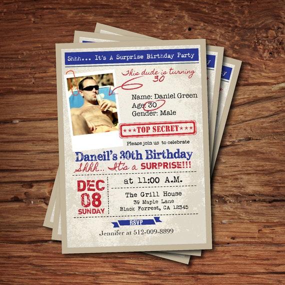 Surprise 30th birthday invitation man guys top secret etsy image 0 filmwisefo