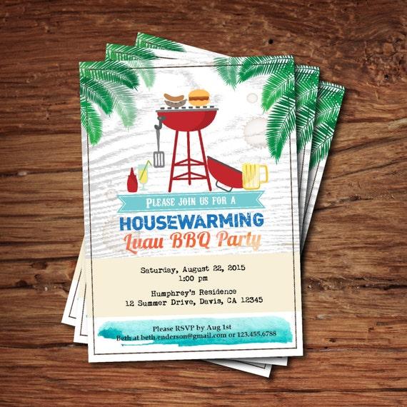 Housewarming BBQ Party Invitation Summer Tropical Luau Bbq