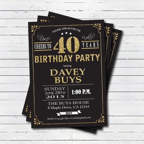 40 Urodziny Zaproszenie Czarno Złota Okrzyki Do Lat 40 Etsy