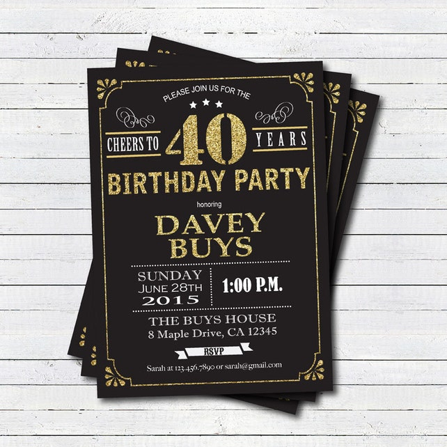 40th Birthday Invitation Black And Gold Cheers To 40 Years Guy