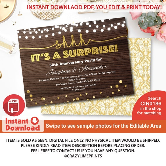 Surprise Anniversary Invitation Rustic Wood Gold 50th Wedding Anniversary Instant Download Editable Pdf Printable File Any Year Cin0186