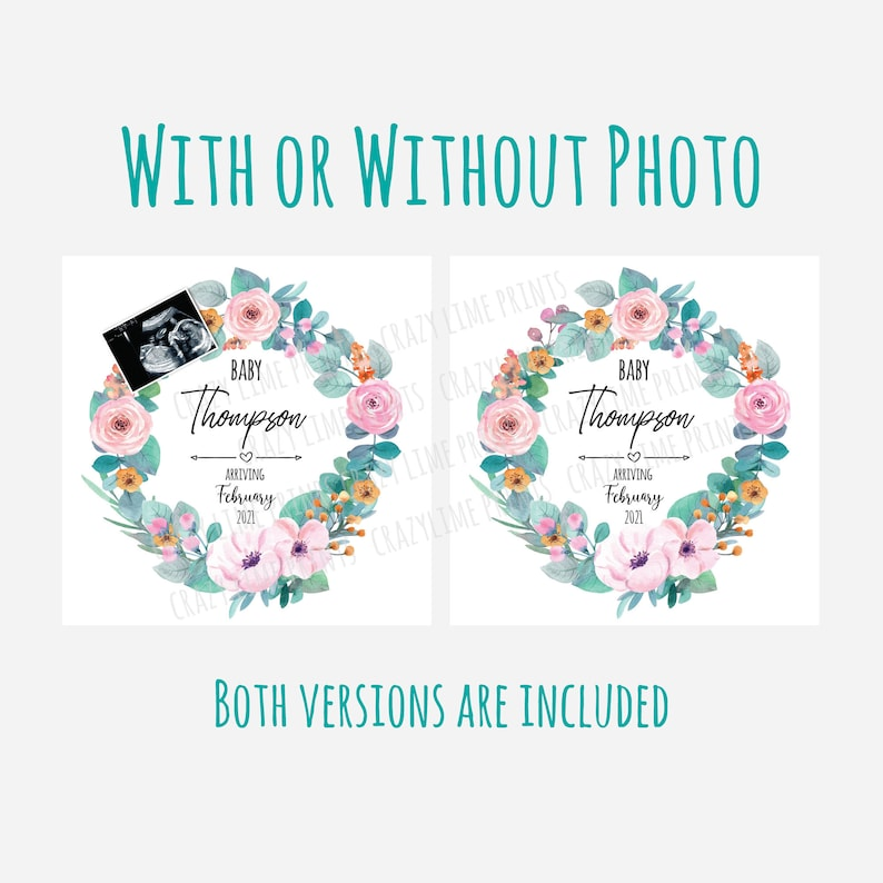 Printable Social Media Baby Reveal EDITABLE Template Pink Rose Wreath With  Without Ultrasound Scan IG195 Digital Pregnancy Announcement