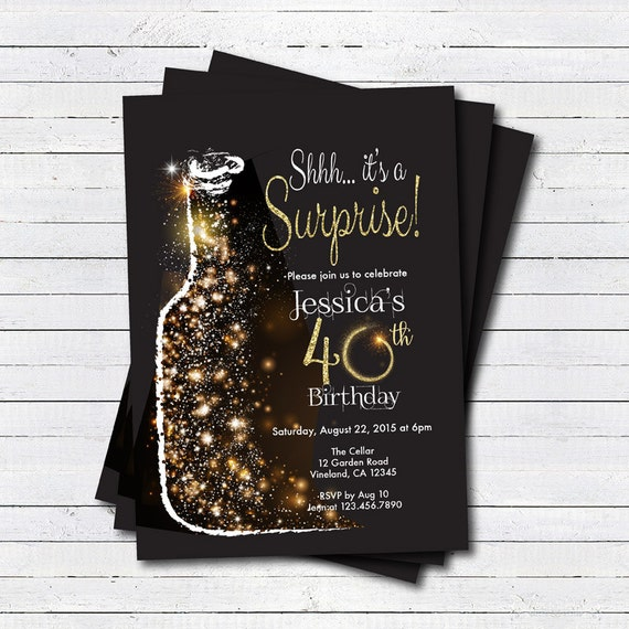 surprise 40th birthday invitation woman man wine birthday etsy
