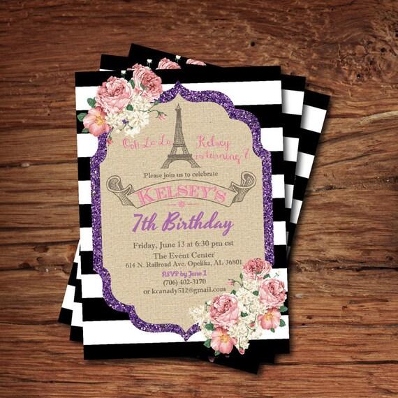 Invitación Del Cumpleaños Del Torre De Eiffel De París Invitación De Cumpleaños Niña Cumpleaños De Niños Flores De Arpillera Y Brillo Para