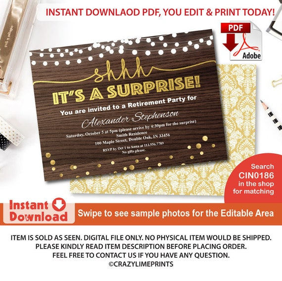 Surprise Retirement Party Invitation Rustic Wood Gold Adult Etsy