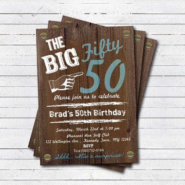 50th Birthday Invitation Surprise Retro Rustic Wood Blue Printable Adult Party AB004
