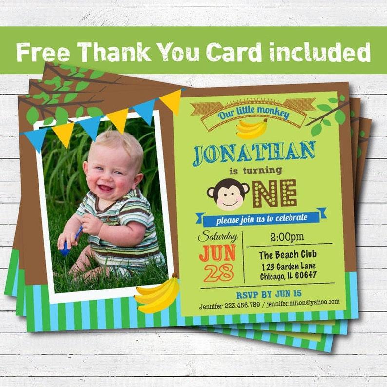 Monkey Birthday Party Invitation Baby Boy Girl 1st First Birthday Invitation Jungle Monkey Photo Card Printable Invitation Kb037