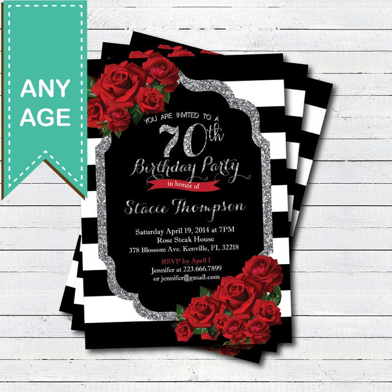 70th Birthday Invitation For Lady Red Rose Black White And