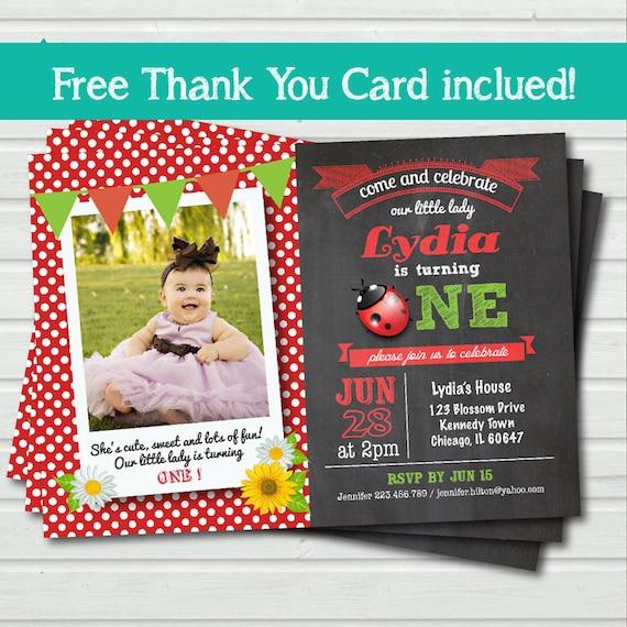 Ladybug Girl 1st First Birthday Party Invitation Ladybird Red White Black Polka Dot Printable Photo Card Invite Free Thank You Card Kb035