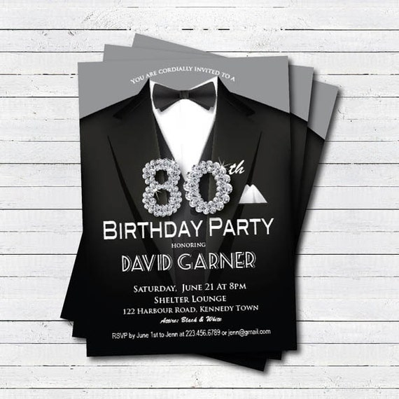 Man 80th Birthday Invitation Black Tie And Suit Diamond