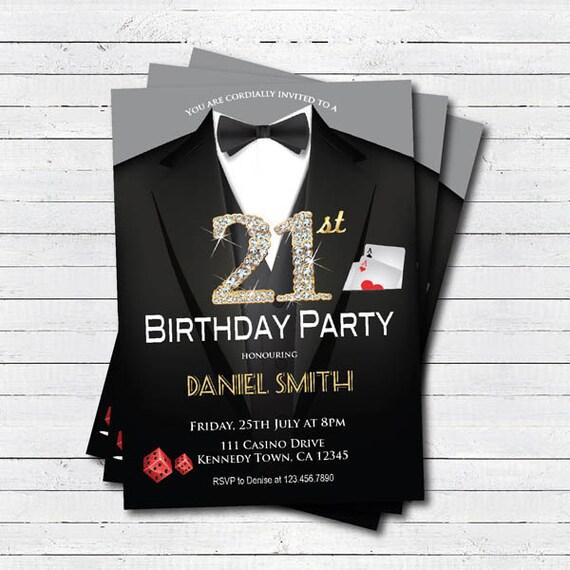 Casino 21st Birthday Invitation Adult Man Birthday Party Etsy