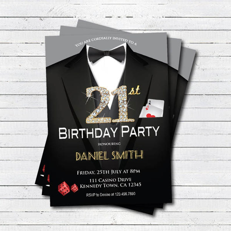 Casino 21st Birthday Invitation Adult Man Party
