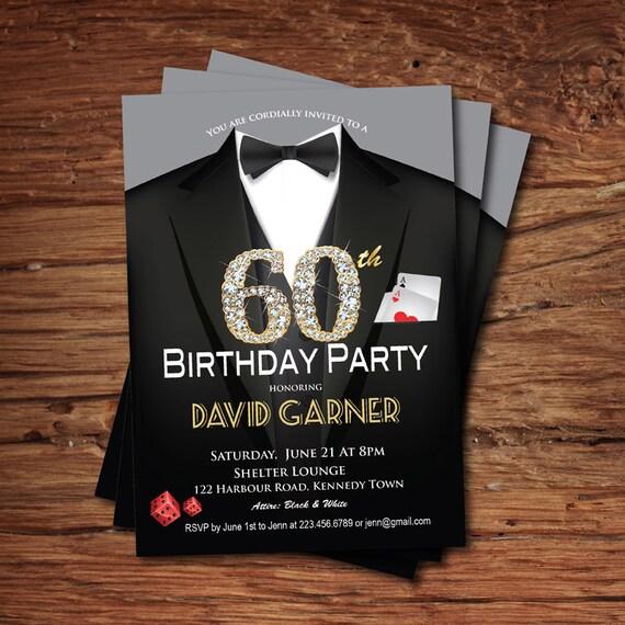 Casino 60th Birthday Invitation Adult Man Birthday Party Etsy