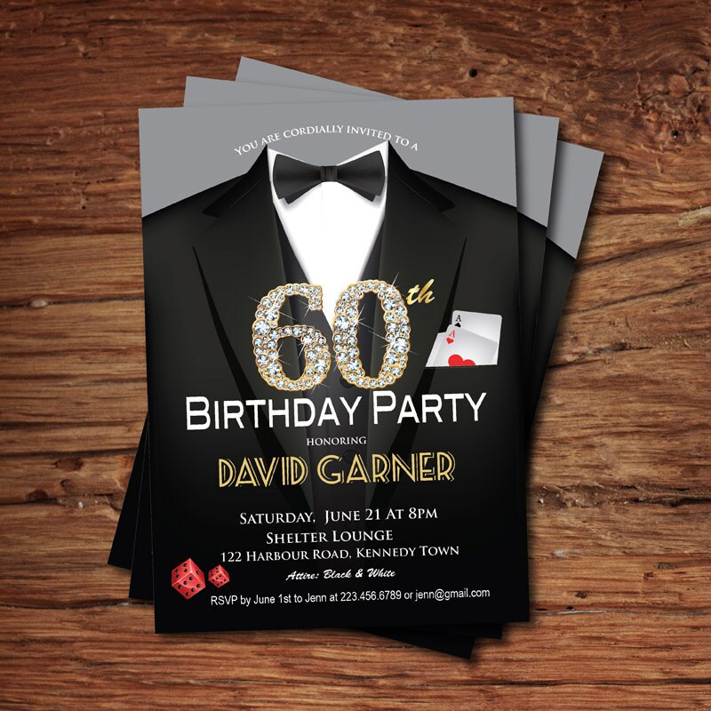 Casino 60th Birthday Invitation Adult Man Party