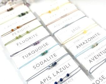 Crystal Bracelet - Crystal Anklet - Dainty Bracelet - Friendship Crystal Bracelet - String Bracelet - Gift Card Bracelet - Real Crystal