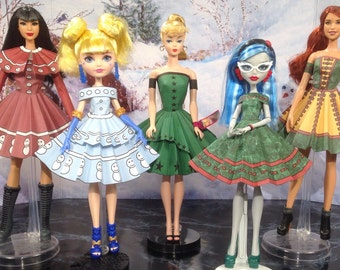 Christmas Party Printable Doll Clothes - Fits Barbie, Monster High, Ever After High and more!