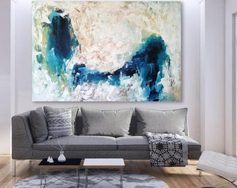 ORIGINAL 60 + Inch ABSTRACT Extra Large Art Free Shipping Modern Art Contemporary Painting 150 cm Blue Abstract Fine Art Blue Wall Art