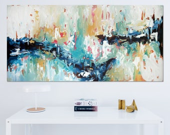Original Large Abstract Painting, Acrylic Painting on Canvas. Extra Large Painting - Wall Art, Modern Texture bright Yellow, Blue, White