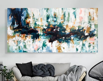 Original Large Abstract Art, Abstract Painting, Blue Abstract Art, Blue Wall Art, Oversized Wall Art, Modern Blue Painting Textured Wall Art