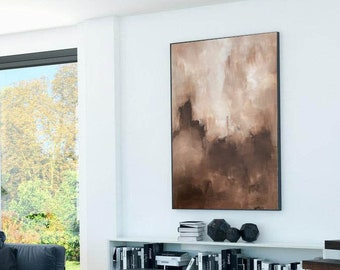 Large Framed Original Abstract Painting. Earthy Tones Landscape Fine Art Painting. Textured Wall Canvas. Abstract Canvas Fine Art Oversized