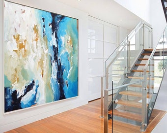 ORIGINAL ABSTRACT Painting, Large Original Painting, Blue Abstract Art, Acrylic Painting on Canvas, XL large Canvas Art. Custom Painting