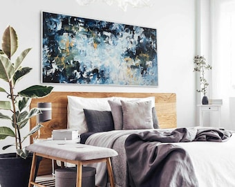 Large Abstract Painting. Wall Art Canvas Painting. Original Abstract Painting On Canvas. Large Abstract. Framed Original Black Yellow Art
