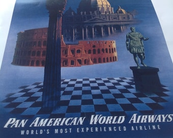 Pan Am Rome Italy Vintage Travel Poster by Clipper  Wall Art