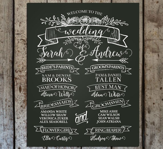 chalkboard wedding program sign printable wedding program etsy